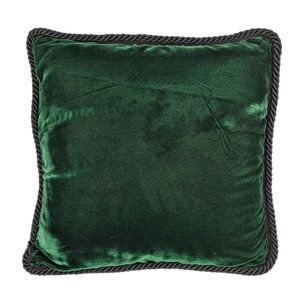Medium Sized Green Velvet Pillow with Black Trim